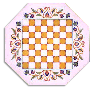 Description: With Chess Design Capturing The Major Part, This Octagonal Table  Tops Look Indescribable. The Blooming Vine Running Across The Edges, ...