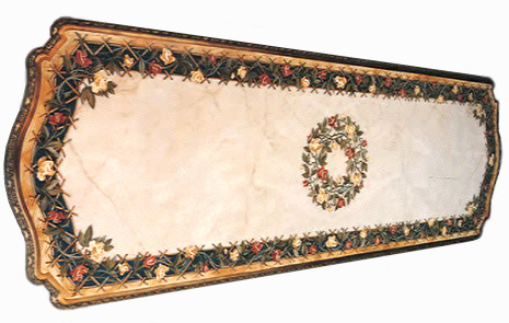 Description: Marble Table Top. Can Be Used As Dinning Table Or Conference  Table. Colored Leaves And Motifs Are Inlaid On The Edges.